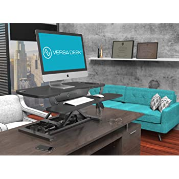 """VersaDesk Power Pro Corner - 36"""" Electric Height-Adjustable Standing Desk - Sit to Stand Desktop with Keyboard and Mouse Tray - Black"""