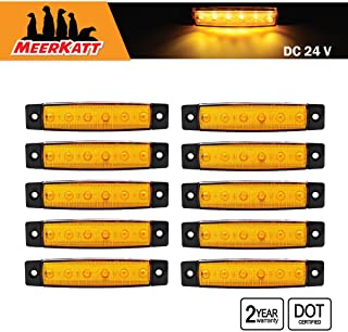 Meerkatt (Pack of 10) 3.8 Inch Amber 6 LED Small Side Clearance Indicator Marker Light Waterproof Lamp Sealed Decoration Fender Turn Signal Rear Tail Trailer Boat Lorry Bus ATV Freight Car 24v DC TK24