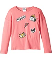 Karl Lagerfeld Kids - Long Sleeve Jersey Tee with Embossed/Patch Graphic (Toddler)