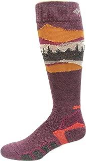 Columbia Omni Heat Ski Over the Calf Mountain Range Medium Weight Socks 1 Pair, Black Cherry, Large