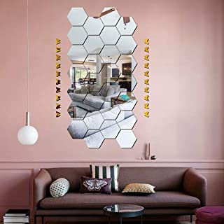 Best Decor 28 Hexagon Silver with 20 Butterfly Golden Code 336 Acrylic Mirror 3D Wall Sticker Decoration for Kids Room/Liv...