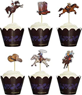 BeBeFun Adjustable Cupcake Wrappers and Decoration Toppers Cowboy Theme Western Cowboy Rodeo Theme Cake Cupcake Decorating Accessories 24pcs Wrappers & 24pcs Toppers in Pack.