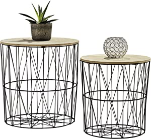 Your Home 2 Metal Wire Coffee Tables, Geometric Design, Occasional Side Table with Round Removable Top for Storage (Black)