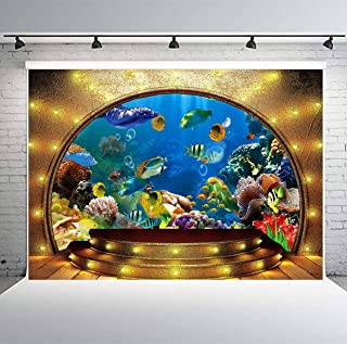 7x5ft Underwater World Backdrop Sea Coral Fish Backdrop for Photography Golden Dome Background for Baby Newborn Studio Photo Props GEPH016 PHMOJEN