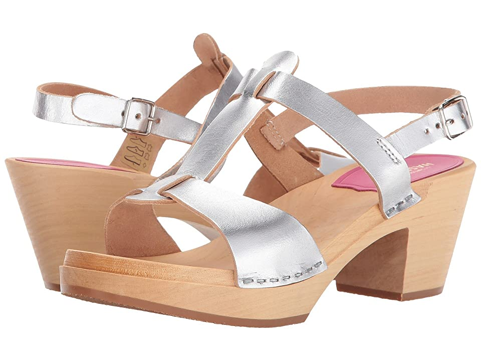 Swedish Hasbeens Greek Sandal (Silver) High Heels