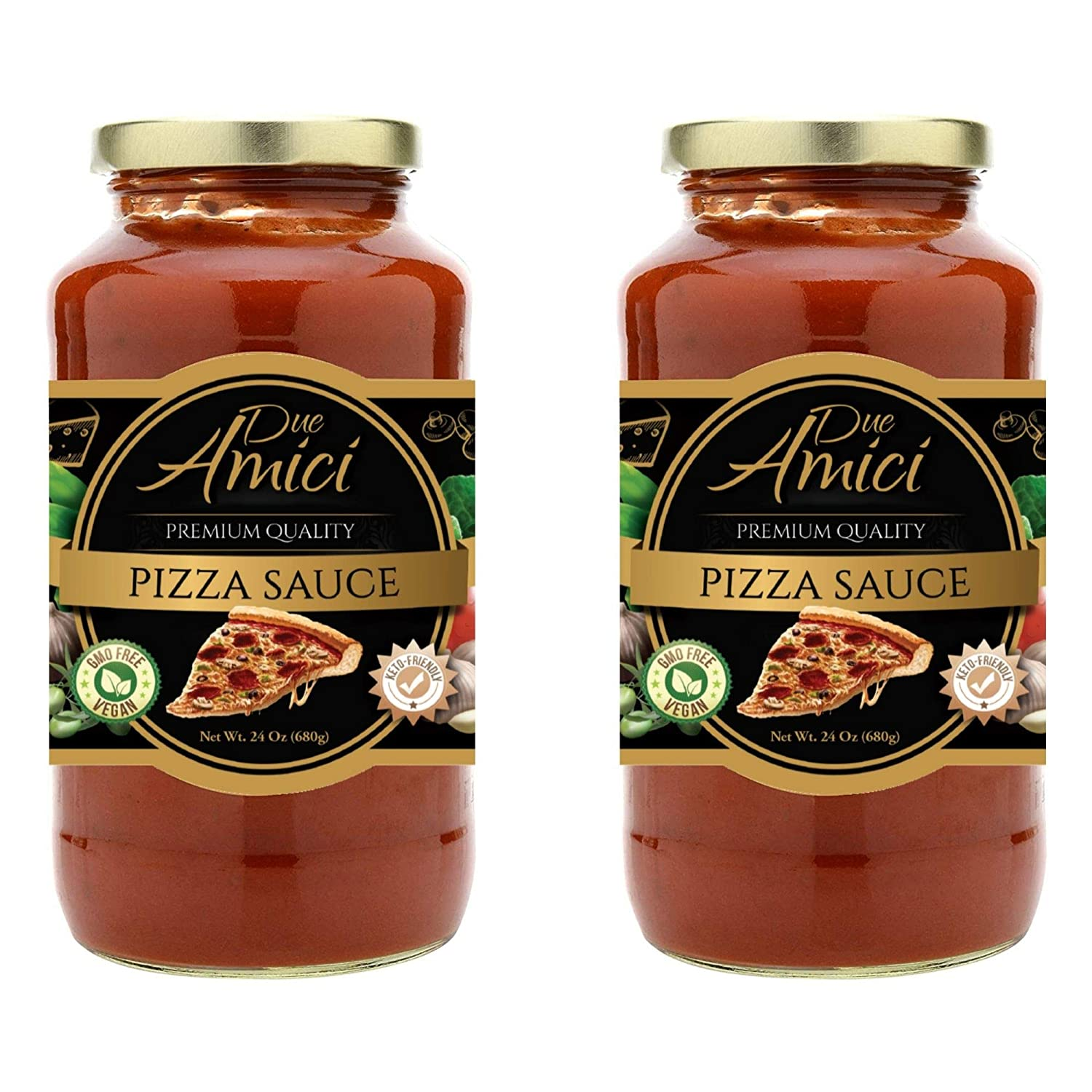 Pizza Sauce by Due Amici - Keto / Vegan - Pack of (2) - Tomatoes