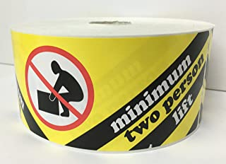 1 Roll LARGE 2-1/2x8-1/8 Yellow and Black MINIMUM TWO PERSON LIFT Special Handling Shipping Pallet Stickers 500 labels per roll