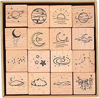 MissOrange『木製ゴム印セット』月 星雲 星団 クリエイティブスタンプセット クラフトカード スクラップブッキング 手帳用 16個セットM-26