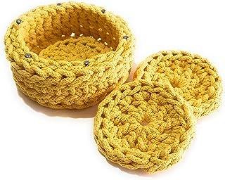 """Cesta y cuatro posavasos a juego, diseño exclusivo, pieza única: en cordón de algodón trenzado amarillo. Modelo""""Canary"""""""