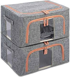 収納ケース・ボックス フタ付き 折り畳む 持ち手付き 100%無臭 可視化デザイン 省スペース シンプル バスケット 衣類 雑貨 小物 書類 おもちゃん 防塵 防錆 2点セット(グレー、22L)