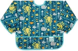 Bumkins  Sleeved Bib / Baby Bib / Toddler Bib / Smock, Waterproof, Washable, Stain and Odor Resistant, 6-24 Months  - Sea Friends