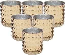 Ms Lovely Large Studded Glass Votive Tealight Candle Holders - Bulk Set of 6 - Rose Gold