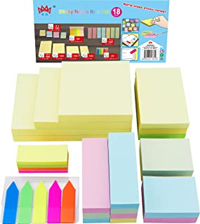 4A Sticky Notes Value Pack,Assorted The Most Commonly Used Sizes In One PP Box,Self-Stick Notes,18 Pads/Box,1900 Sheets Total,4A 4012