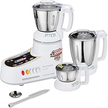 Panasonic AC MX-AC300S-H 550-Watt Super Mixer Grinder with 3 Jars (White)
