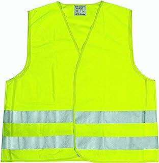 Cartrend 50130 Chaleco reflectante de averías amarillo tamaño XL, DIN EN 20471 en práctica bolsa textil con cierre de crem...