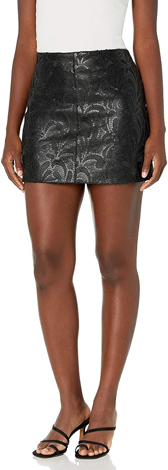 [BLANKNYC] Womens Vegan Leather Mini Skirt with Sequin Embroidery Detail