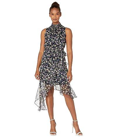 CeCe Cascading Ruffle Botanic Charm Dress (Caviar) Women