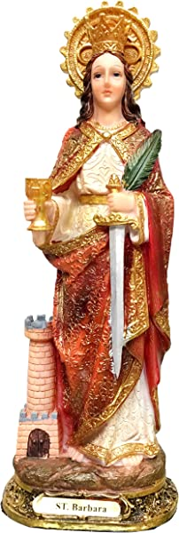 St Barbara Statue Saint Barbara Estatua Holy Figurine Sculpture 8 Inch