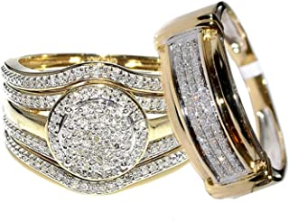 Rings-MidwestJewellery.com 4-Piece 10K Yellow Gold 0.66carats Diamonds 19mm Wide Halo Style His and Her Bridal Trio Rings Set (I-J Color, I2-I3 Clarity)