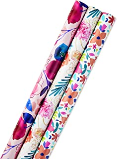 Hallmark All Occasion Reversible Wrapping Paper (Feminine Florals, Pack of 3, 120 sq. ft. ttl.) for Birthdays, Bridal Showers, Baby Showers, Mothers Day and More