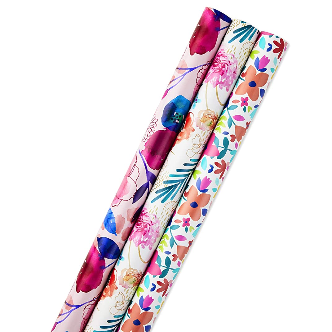 Hallmark All Occasion Reversible Wrapping Paper for Birthdays, Bridal Showers, Baby Showers, Mothers Day, and More (Feminine Florals, Pack of 3, 120 sq. ft. ttl.)