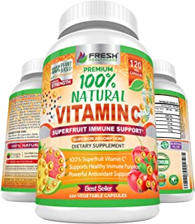 Natural Vitamin C - 100% from Rose Hips, Acerola Cherry and Camu Camu Superfruit 500mg - High Absorption - Immune Support,...