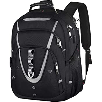 18.4 Laptop Backpack for Men, 55L Extra Large Gaming Laptops Backpack with USB Charger Port,TSA Friendly Flight Approved and RFID Anti-theft Pocket,Water Resistant Suiltable for Traveling & Business
