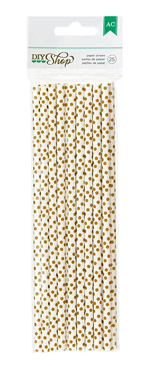 American Crafts DIY2 Dot Paper Straws, Gold