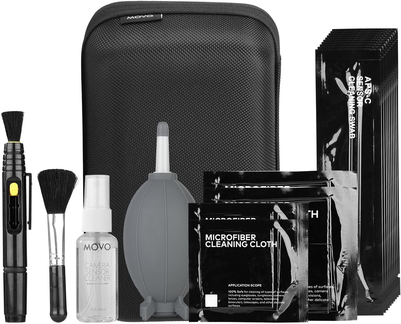 Movo Deluxe Essentials DSLR Camera Cleaning Kit with 10 APS-C Cleaning Swabs, Sensor Cleaning Fluid, Rocket Air Blower, Lens Pen,...