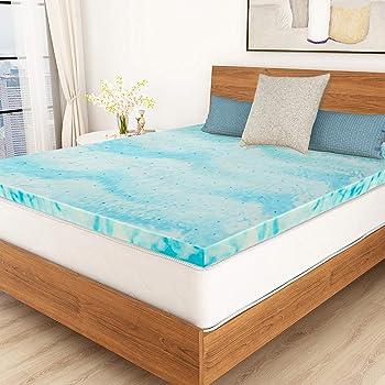 POLAR SLEEP Mattress Topper King, 3 Inch Gel Swirl Memory Foam Mattress Topper with Ventilated Design - King Size