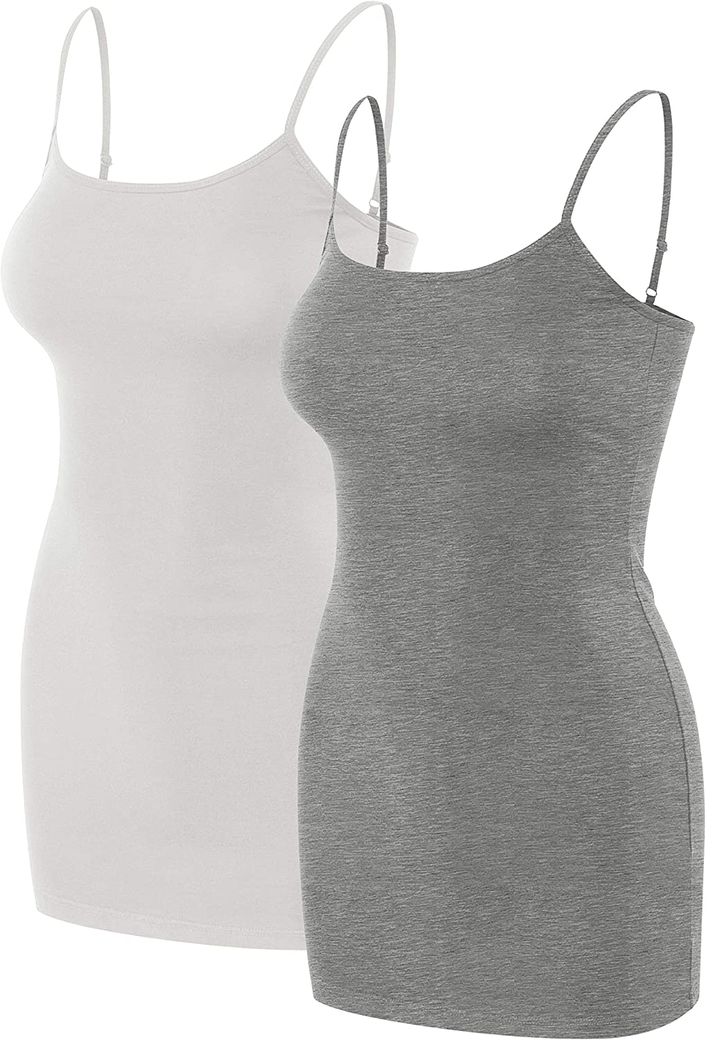 Sixth avenue Multi Pack Womens Basic Long Length Adjustable Spaghetti Strap Cami Tank Top Camisole (S3XL)