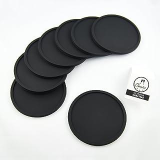 Coastee siliconen onderzetters - 8 stuks, zwart, glazen onderzetter set voor bar, woonkamer, keuken.