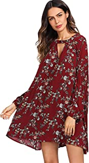 Women's Boho Floral Print Long Sleeve Loose Short Mini Tunic Dress