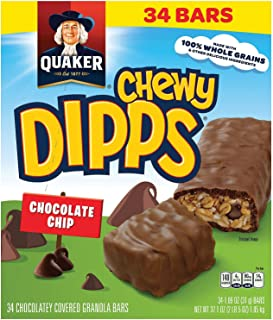 Quaker Chewy Dipps Chocolate Granola Bars, 34Count, 37.1 Oz