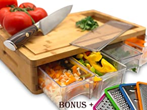 Bamboo Cutting Board With Trays and LIDS. Multi-functional: Comes with 4 Slicers and 4 draws can be used as PREP DISHES or for STORAGE. Design with juice grooves, handles, and a large opening to EFFICIENTLY SLIDE food into!