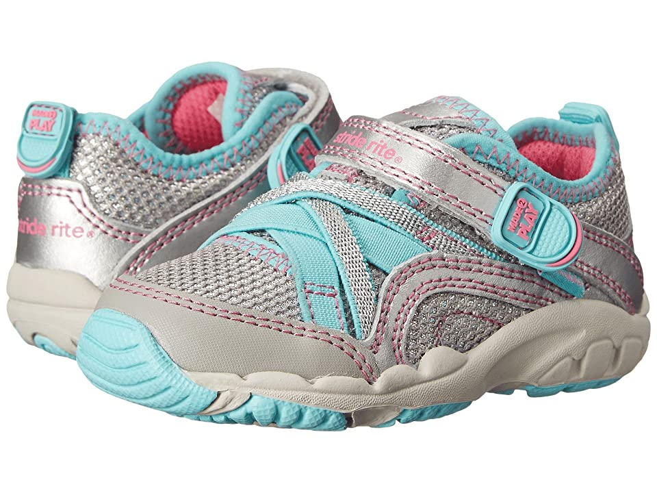 Stride Rite M2P Baby Serena (Toddler) (Silver/Blue) Girls Shoes