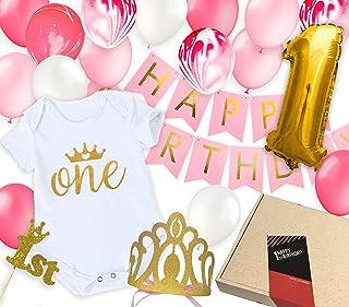 1歳ベビーのバースデープレゼント 女の子の誕生日飾り付けギフト ロンパース ガーランド 風船 ティアラ トッパー 飾り (1歳ガールズ)