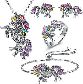 iEay Set de 4 Bijoux Femme- Collier + Boucles d'oreilles + Bracelet + Bague, Ensemble de Bijoux Licorne Accessoires pour M...