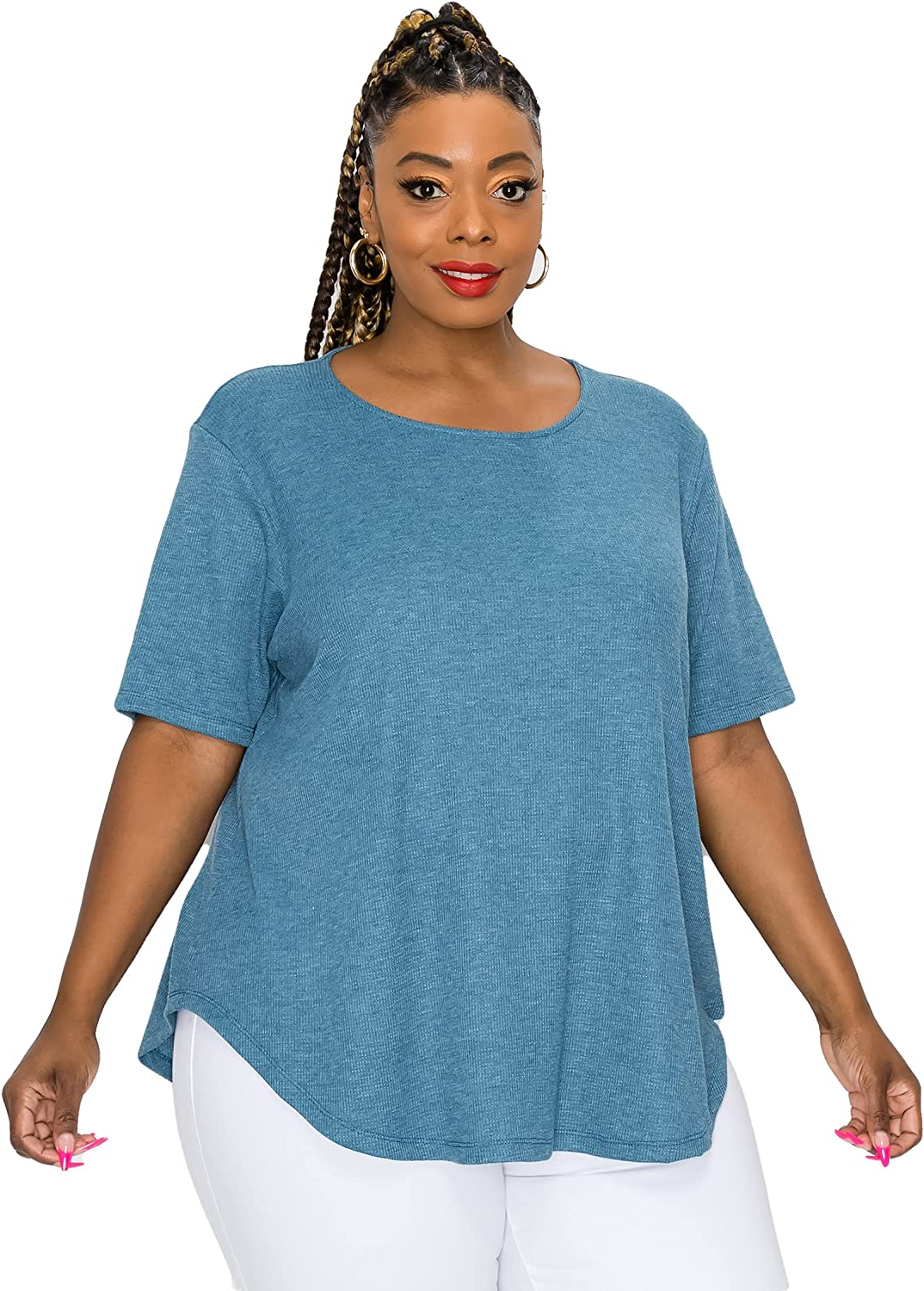 COIN 1804 Women's T Shirt – Plus Size Casual Soft Baby Thermal Short Sleeve Crewneck Swing Flowy Basic Tunic Tee Tshirt Top