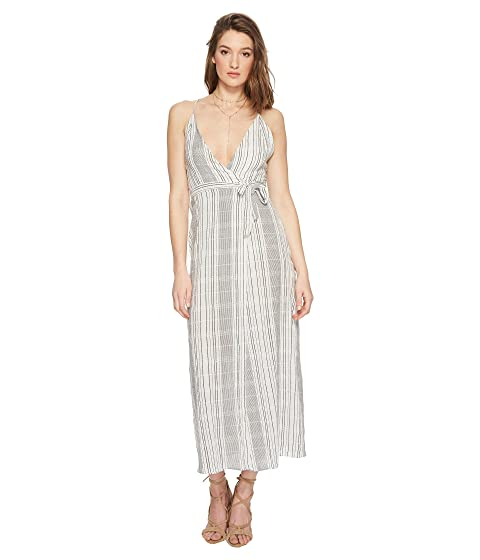 JEN'S PIRATE BOOTY Jana Wrap Dress, White/Black Cotton Stripe