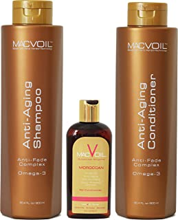 MACVOIL Expect More Anti-aging Shampoo & Conditioner Bundle with Moroccan Re-conditioner Oil