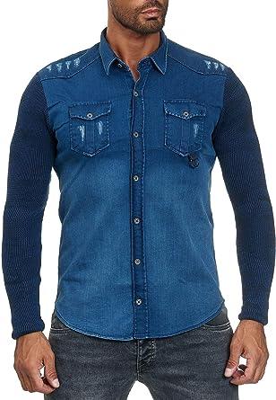 Camisa de Hombre Jeans Look Camisa de Manga Larga Chaqueta ...
