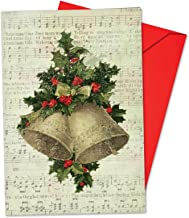 12 'Holly Notes Large Bells' Boxed Christmas Cards with Envelopes 4.63 x 6.75 inch, Vintage Christmas Bells and Holly on Sheet Music, Stationary for Holidays, Christmas and New Years B6650HXSG