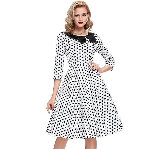 905f7a85f84a3d Belle Poque 3/4 Sleeve Polka Dots 1950's Rockabilly Vintage Swing Dress
