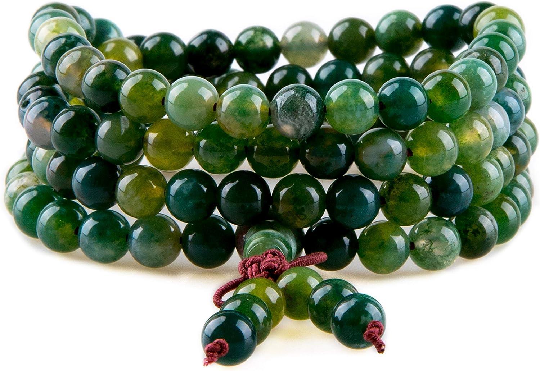 Bivei 108 Mala Beads, Moss Agate Gemstone Prayer Bead 108 Bracel