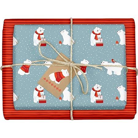 Kinder, Erwachsene, umweltfreundlich, /öko, gr/ün, schwarz, modern dabelino Geschenkpapier WeihnachtenTannenbaum mit Schnee: 4x B/ögen 4x Anh/änger Set | doppelseitiges Weihnachtsgeschenkpapier