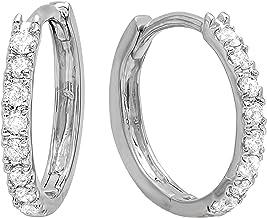 Dazzlingrock Collection AGS CERTIFIED 0.25 Carat (ctw) Round Diamond Ladies Huggies Hoop Earrings 1/4 CT, 10K White Gold