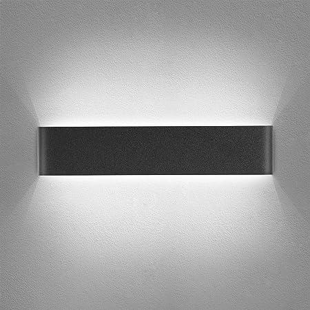 Yafido Applique Murale Interieur LED Noir 14W Lampe Murale Blanc Froid 6000K Moderne Design Luminaire Mural pour Chambre Salon Escalier Couloir 220V
