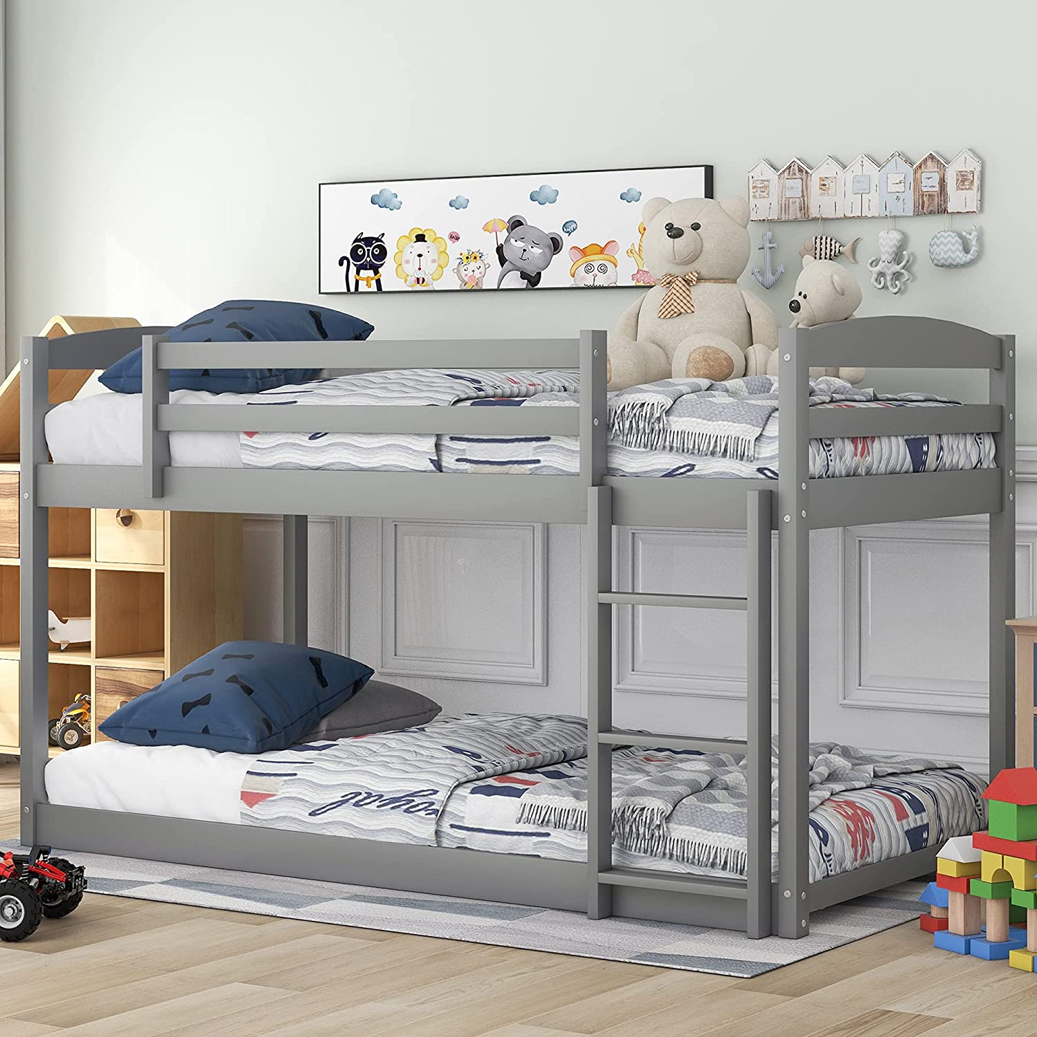 P Price reduction PURLOVE Twin Credence Over Bunk Bed Low Floor Fr Wood