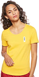 adidas Women's W BRILLIANT BASICS T-Shirt, Gold (Active Gold), Small, 8-10